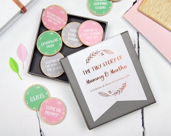 PERSONALISED TINY STORY Of Mummy And Me Wooden Tokens Personalized Gift For Mummy Sentimental Gift For Mom Mother's Day Card Alternative