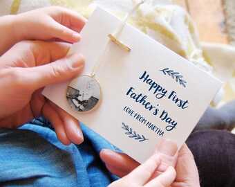 Personalised FIRST FATHER'S Day PHOTOGRAPH Keepsake Card First Fathers Day Card From Baby Personalised Gift For Dad Sentimental Dad Gift
