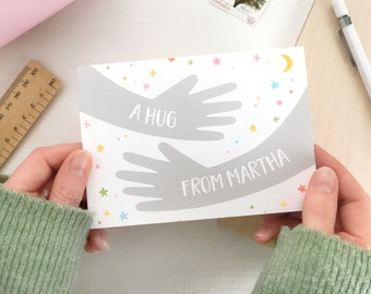 PERSONALISED HUG From ME Card Positive Card For Friend Motivational Card For Bestie Friendship Appreciation Card Thank You Card For Friends