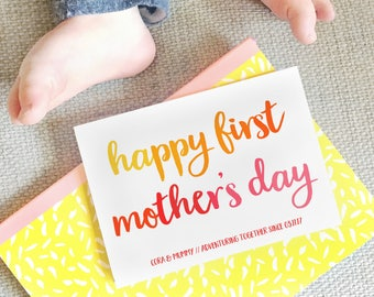 Personalised First Mother's Day Card - Personalized First Mother's Day Card - Mommy Card - Baby And Mom Card - Happy First Mother's Day