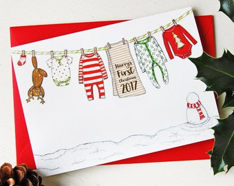 Personalised Baby's First Christmas Card - Washing Line Design