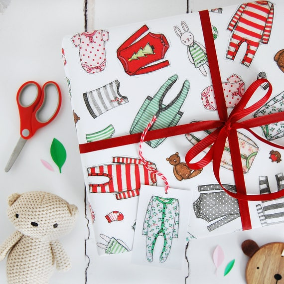 Baby S First Christmas Wrapping Paper Set New Baby Etsy