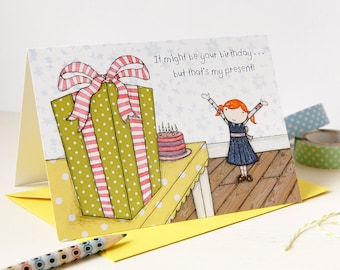 Illustrated Birthday Card - Clara Loves Presents - Single Card (Blank) - Children's Birthday Card - Blank Birthday Card – Birthday Gift Card