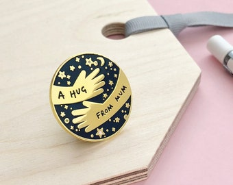 A Hug From Mum Enamel Pin Badge Navy, Separation Anxiety Gift For Children, Back To School Gift