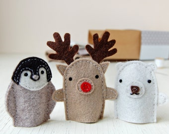 Winter Friends Finger Puppets Kit - Make Your Own - Children's Sewing Kit - Festive Activity Kit - Finger Puppet Toy - Festive Friends Toy