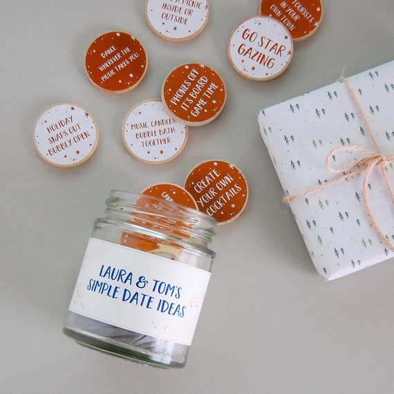 couple s date ideas personalised jar personalised gift for etsy