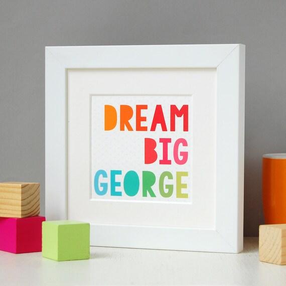 Dream Big Framed Print Personalised Keepsake New Baby Print   Etsy