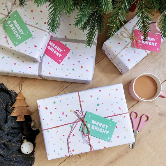4 PACK OF Merry Brite CHRISTMAS GIFT WARP RIBBON DECORATIVE