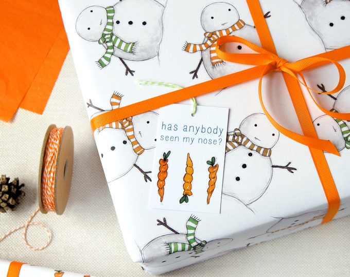 Christmas Snowman Eco Friendly Recyclable Wrapping Paper Set