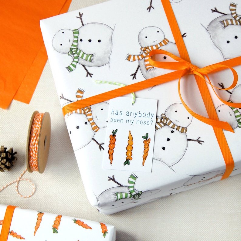Christmas Snowman Eco Friendly Recyclable Wrapping Paper Set image 0