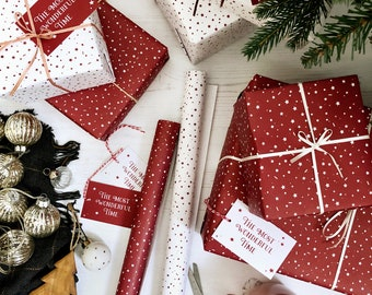 MIXED Red & White Stars 'Wonderful Time' MIXED Recyclable Christmas Wrapping Paper Set