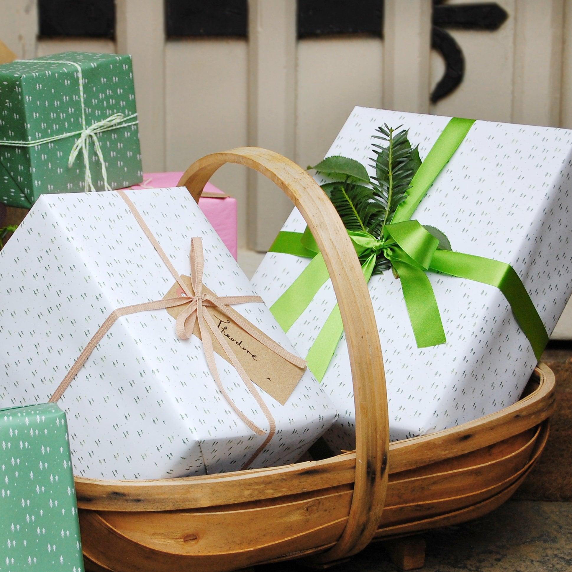 WHITE MINI FOREST Wrapping Paper Set Birthday Gift Wrap
