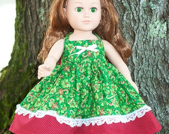 18 inch Christmas doll dress, american made girl doll dress, red green doll apron dress, candy cane doll twirl dress, gift for little girl
