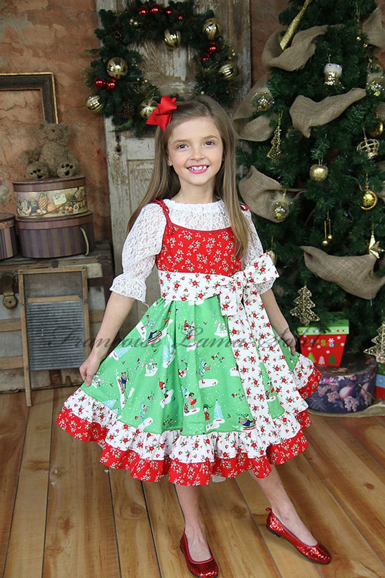 b4578e68caf4 Girl Christmas Dress Red Green White Dress Holiday Dress Pixie   Etsy