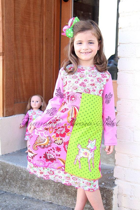 Girl Knit Dress Colorful Patchwork Dress Long Sleeve Dress Girl Fall Winter Dress Pink Blue Green School Dress Fox Deer Dress Floral Dress