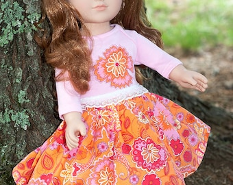 18 inch doll clothes, girl doll pink t-shirt, doll twirl skirt, american doll fashion, orange corduroy skirt doll outfit doll applique shirt