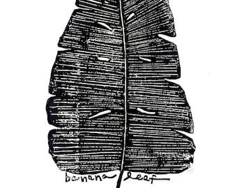 "banana leaf - linoleum block print - 11""x14"" wall art"