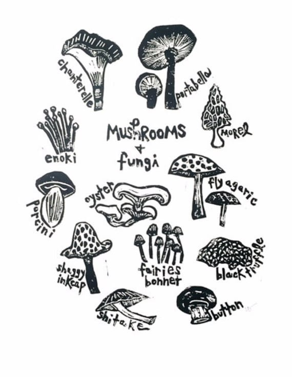 Mushroom Lino Print-Fungi Art-Nature Art-Wall Decor-Wildlife Art-Forager\u2019s Gift-Handmade Lino print