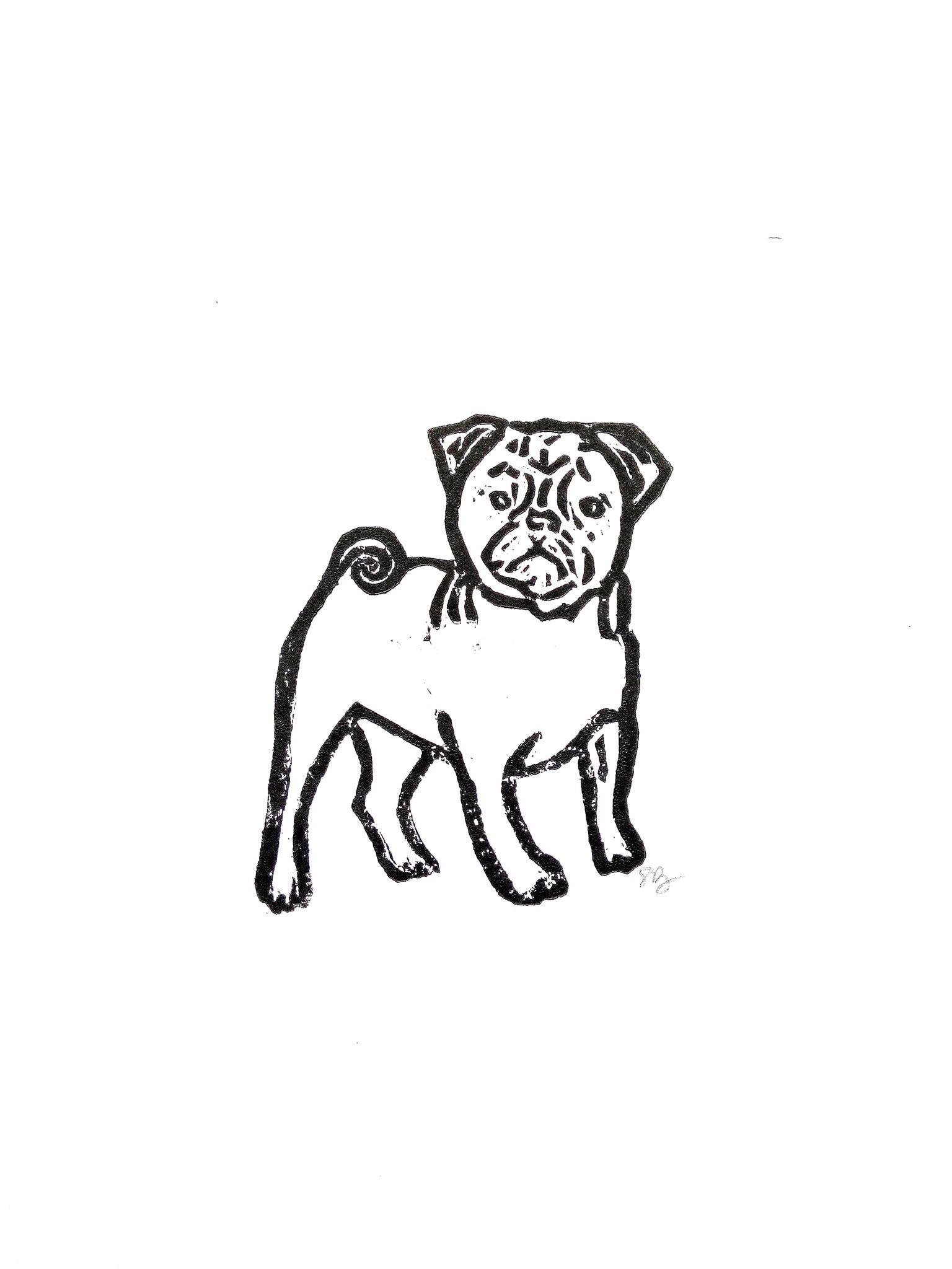 dog breed boxer 9\u201dx12\u201d wall art linoleum block print
