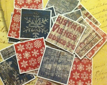 Blue and Red SnowflakesChristmas Note Cards / Gift Tags / Place Cards Set Of 20