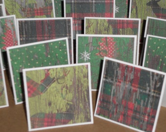 Country Christmas  Note Cards / Gift Tags / Place Cards Set Of 20