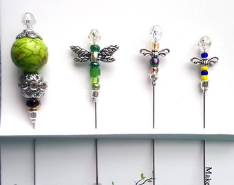 StickPin Assortment, Set of 4, Garden, Bugs, Beaded Pin, Sewing, Pincushion pins, Embellishment, Bling, Quilting, Accessory, Scarf Pin