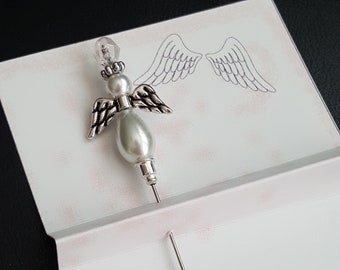 Pincushion Angel, Wedding, Stick Pin, Sewing Pin, Quilting, Embellishment, Card Making, Sewing accessory, Beaded Pin, Pearl