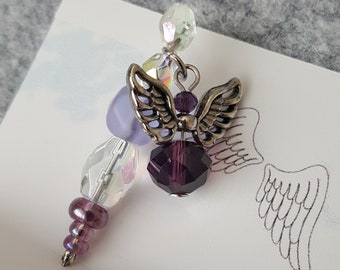Pincushion Angel, Quilter's Angel, Stick Pin, Sewing Pin, Embellishment, Card Making, Sewing accessory, Purple Dangling Angel