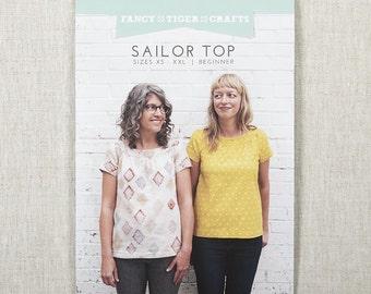 Fancy Tiger Sailor Top Printed Sewing Pattern