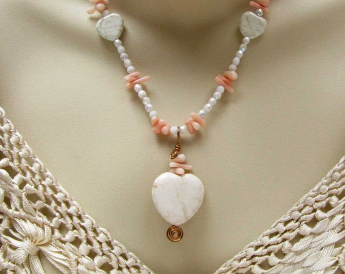 Magnesite Heart bead Crystal faceted bead Coral Necklace Copper Wire Wrapped Magnesite heart with Coral Pendant # 174