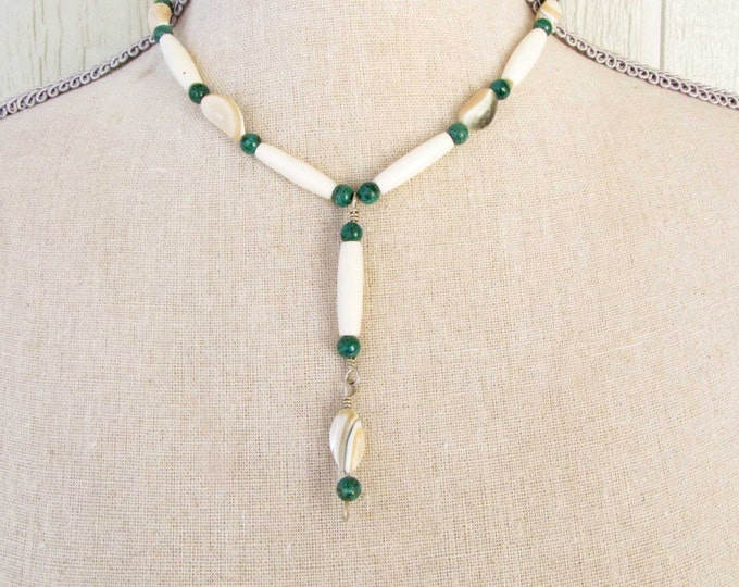 Bone Shell and Malachite Necklace African Wire Wrapped Bone Bead and Shell Pendant Handmade Jewelry Green white Tan #25