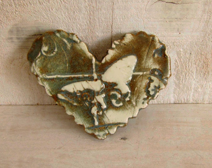 Ceramic Heart Pin handmade brown cream butterfly Pin Brooch Abstract Art Pin 158