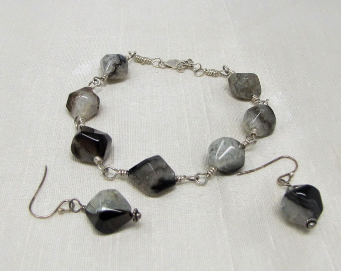 Agate Sterling Silver Wire Wrapped Bracelet and Dangle Earrings Dyed Agate