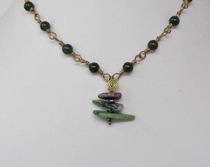 Green Jade Beads  Wire Wrapped Copper Ruby Zoisite Pendant Necklace Handmade Jewelry
