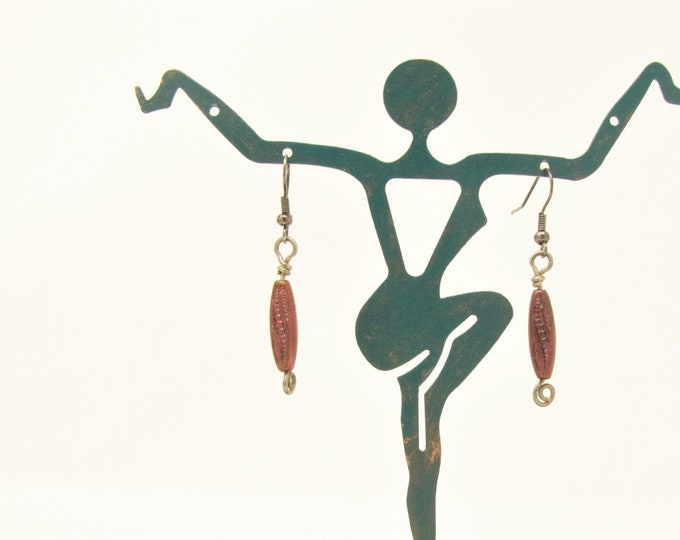Copper Glass Dangle Earrings Sterling silver headpin Handmade Jewelry