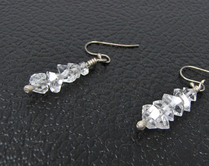 Herkimer Diamond Sterling Silver Earrings Quartz Crystal Double Point Handmade Jewelry