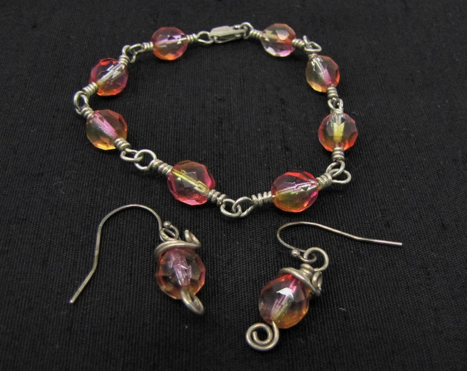 Pink Yellow Glass Bead Wire Wrapped Sterling Silver Bracelet and Earring Set