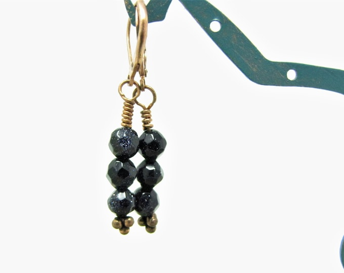 Wire Wrapped Blue Goldstone Copper Pierced Earrings