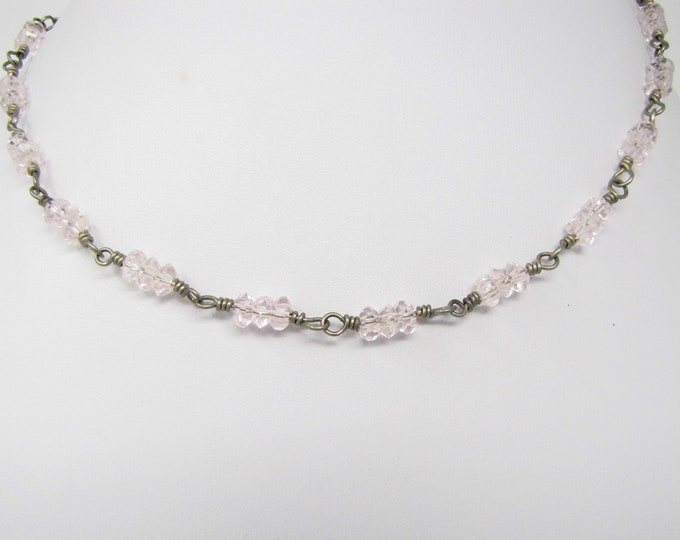 Sterling Silver Wire Wrapped Pink Faceted Glass Rondelle Beads Necklace