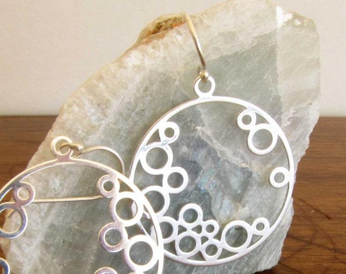 Sterling Silver Bubble Circle Dangle Earrings Statement Earrings Wedding Formal Earrings