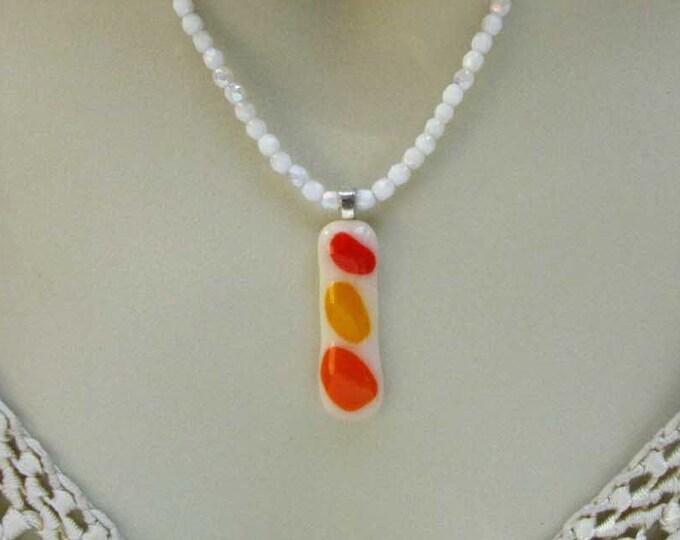 Orange Yellow Fused Glass Necklace Handmade Jewelry