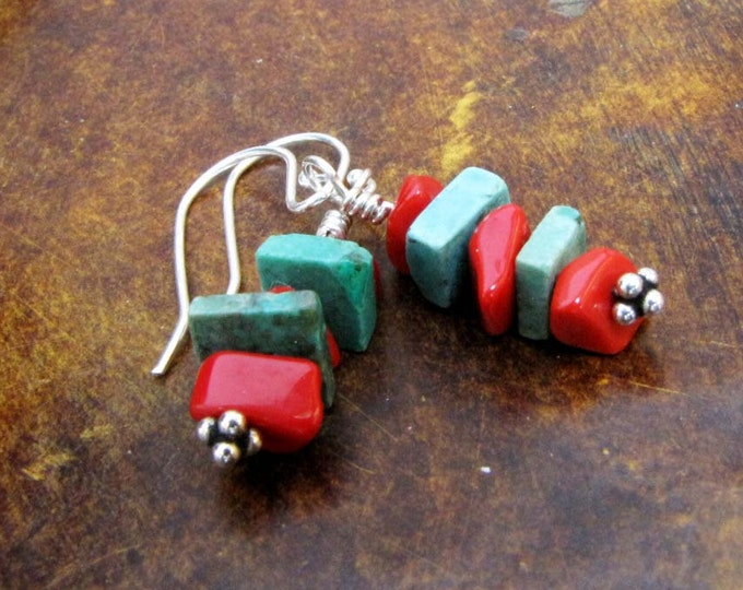 Southwestern Turquoise Coral Dangle Earrings Sterling silver findings Handmade Jewelry E16