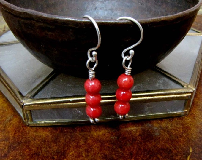 Red Coral Sterling Silver Dangle Earrings- Sterling Silver-Wire Wrapped-Shabby Chic-Boho chic- Red Coral -Beach Handmade Jewelry # E6