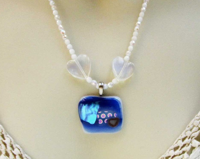 Blue White Turquoise  Fused Glass Necklace Pendant Crystal Bead White Necklace  Handmade Jewelry