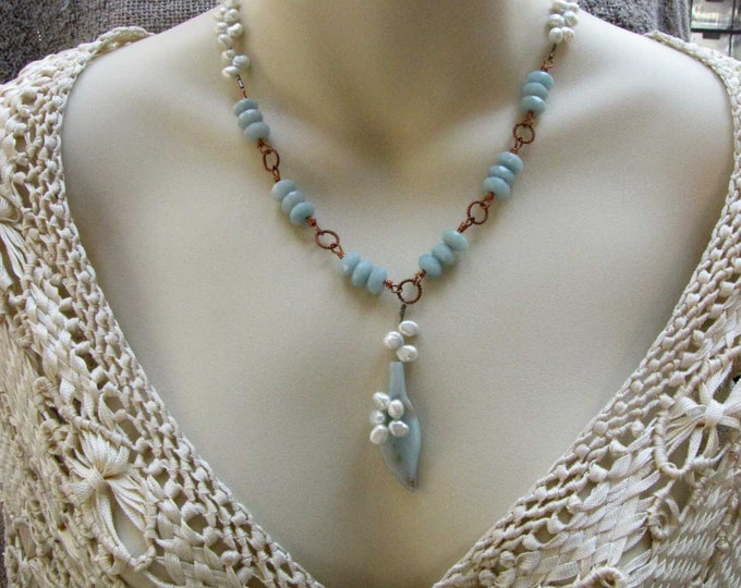 Copper Wire Wrapped Blue Green  Amazonite Pearl Necklace  Leaf Pendant  Handmade Jewelry blue green Pearls
