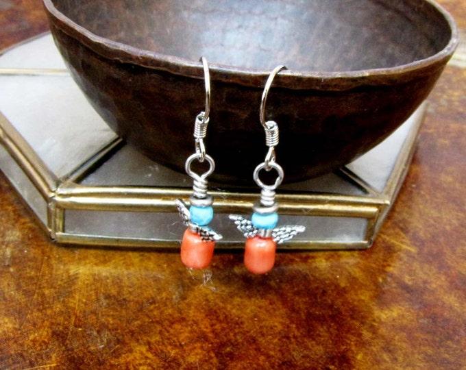 Southwestern Turquoise Coral Angel Dangle Earrings Silver Wings Handmade Jewelry # 66
