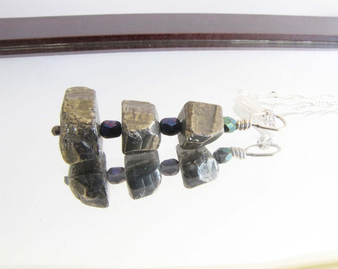 Pyrite Sterling Silver Wire Wrapped Pendant Necklace #50