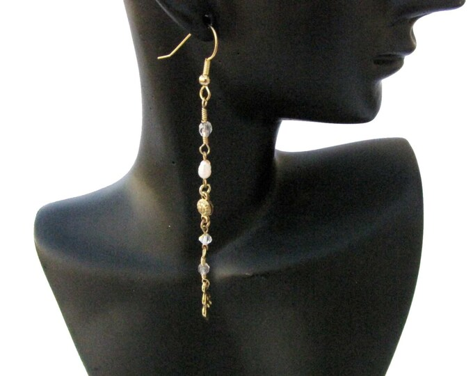 Spiral Goddess  Pearl Dangle Earrings Gold Wire Wrapped Vintage Chain Recycled Repurposed Handmade Jewelry # E17