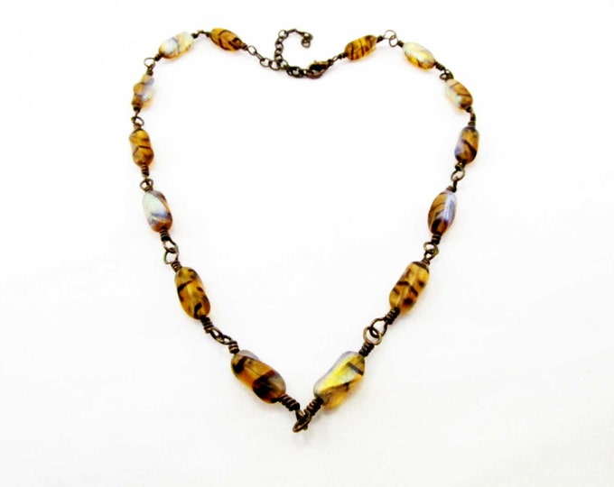Amber Striped Bead Copper Wire Wrapped  Iridescent Bead Necklace Handmade Jewelry # 72