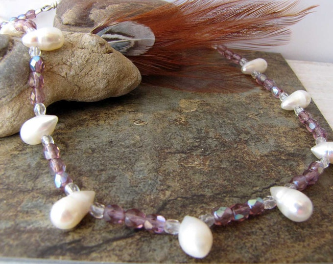 Pearl Drop Purple Faceted Crystal beaded necklace white purple Tiny Necklace Choker Handmade Jewelry  Delicate # 110